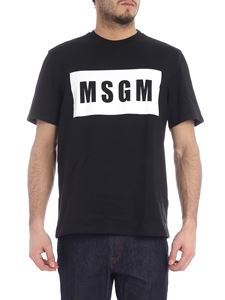 MSGM - T-shirt with box logo black and white