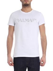 Balmain - White t-shirt with laminated logo