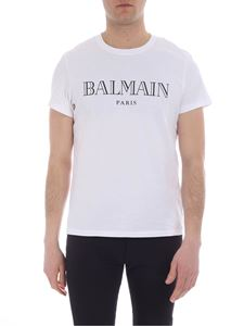 Balmain - White crewneck t-shirt with logo