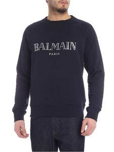 Balmain - Blue sweatshirt with laminated logo