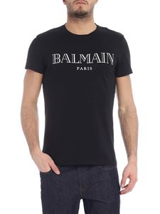 Balmain - Black crew-neck t-shirt with logo