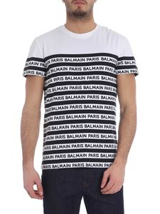 Balmain - Striped logo T-shirt in black and white