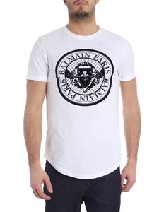 Balmain - White t-shirt with medallion print