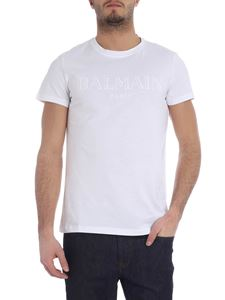 Balmain - White t-shirt with flocked logo