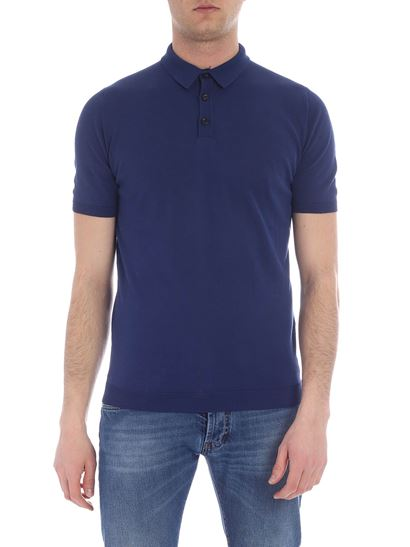Roberto Collina - Blue polo shirt with ribbed edges