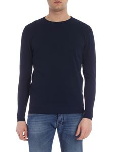 Roberto Collina - Navy blue pullover with pierced pattern