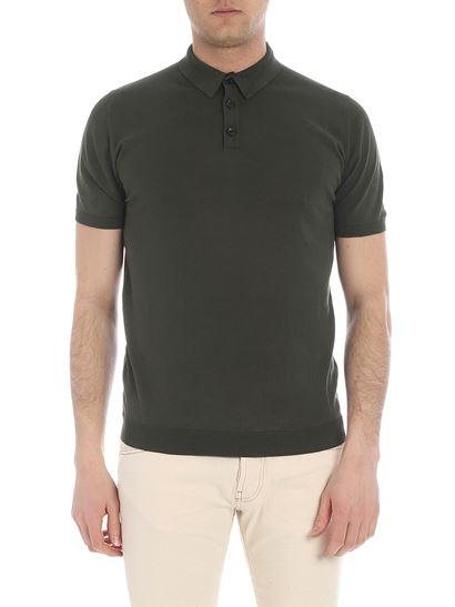 Roberto Collina - Army green polo with ribbed edges
