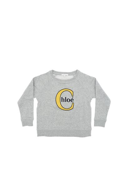 Chloé - Gray sweatshirt with logo embroidery