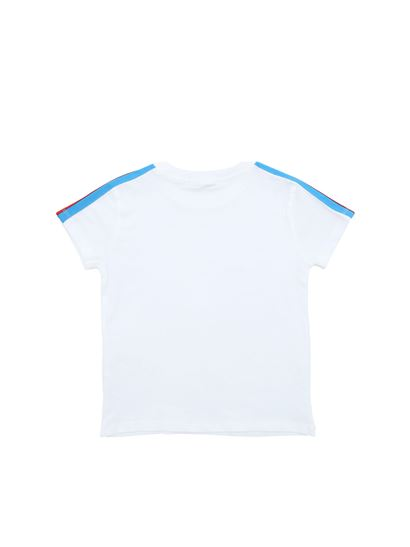 MSGM - White crew-neck t-shirt with branded stripes