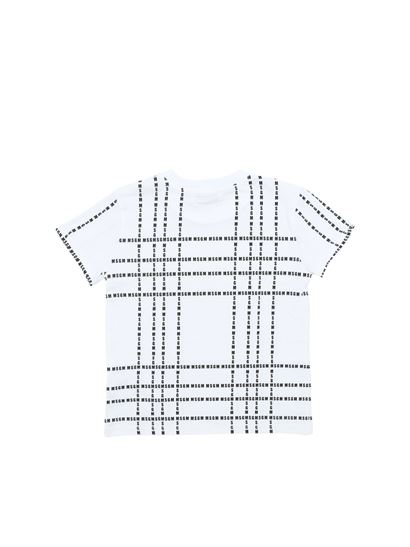 MSGM - White t-shirt with black logo prints