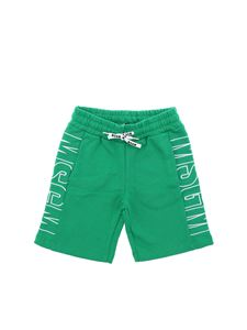 MSGM - Green bermuda with white logo embroidery