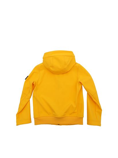 Stone Island Junior - Yellow jacket with removable logo