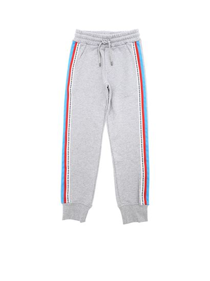 MSGM - Gray trousers with branded stripes