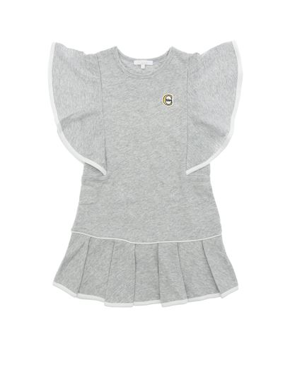 Chloé - Gray dress with logo and flared sleeves
