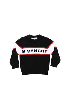 Givenchy - Black pullover with white and red logo inlay