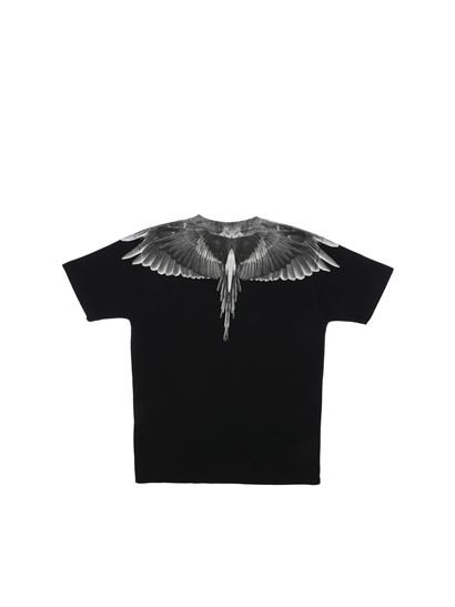 Marcelo Burlon Kids - Black Wings crew neck t-shirt in black