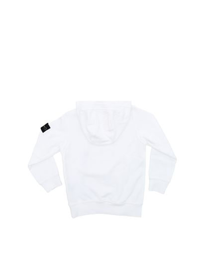 Stone Island Junior - White sweatshirt with logo on the sleeve