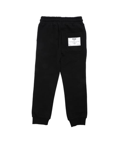 MSGM - Black trousers with Deepest Black print