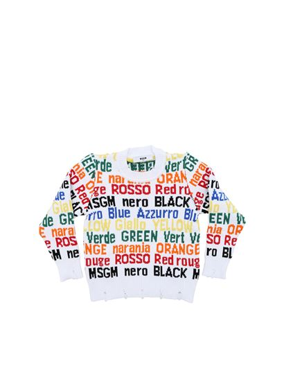 MSGM - White pullover with multicolor inlays