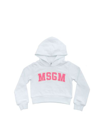 MSGM - White sweatshirt with embroidered logo