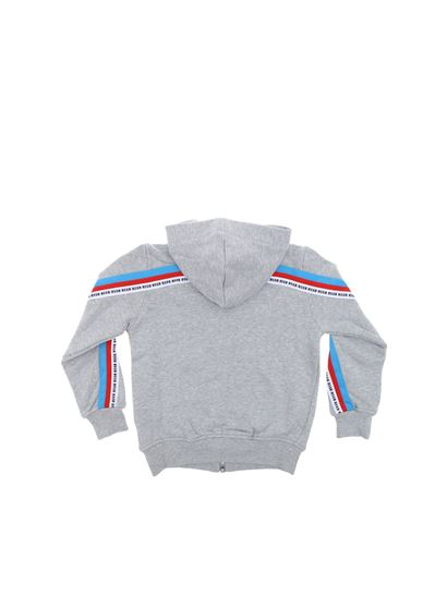 MSGM - Gray sweatshirt with multicolor stripes