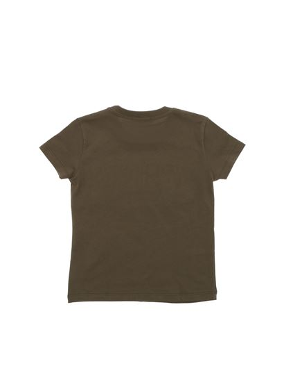 MSGM - Army green t-shirt with yellow logo