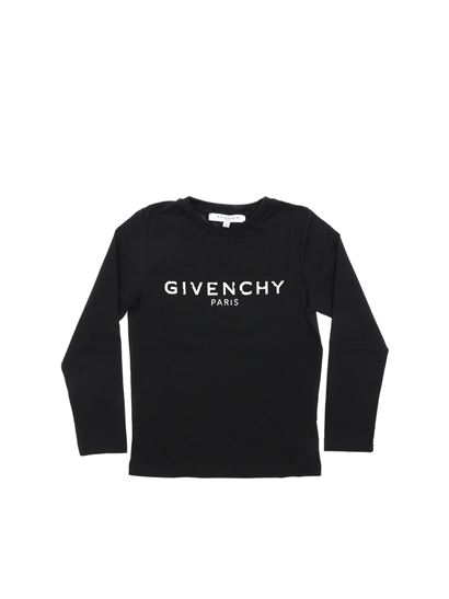 Givenchy - Black long-sleeved T-shirt with white logo