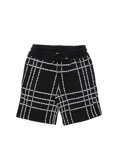 MSGM - Black bermuda with white logo prints