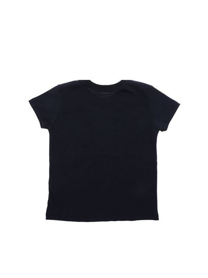 MSGM - Blue t-shirt with white logo embroidery