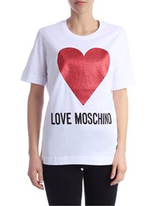 Love Moschino - White t-shirt with logo and heart