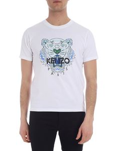 Kenzo - Kenzo t-shirt in white with green and blue Tiger print