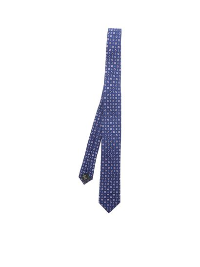 7627e640 Navy blue silk tie with pattern