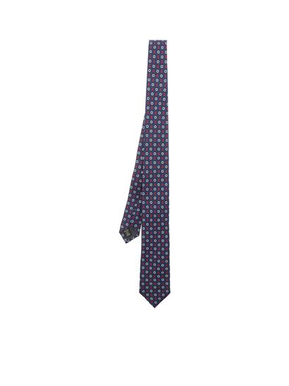 e665c240 Blue silk tie with pattern