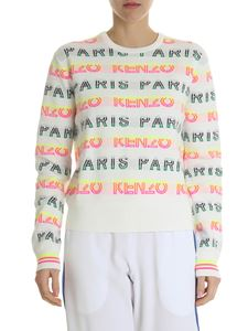 Kenzo - White pullover with inlay multicolor logo