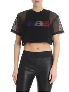 Alexander Wang - Black mesh top with printed logo