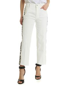 Stella McCartney - White baggy jeans with branded stripes