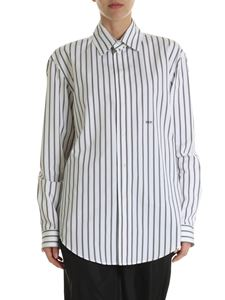 Off-White - Black and white striped cotton shirt