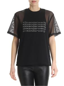 Alexander Wang - Black mesh t-shirt with printed logo