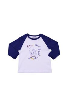 Baby Dior - Baby Dior elephant and lion t-shirt in white and blue