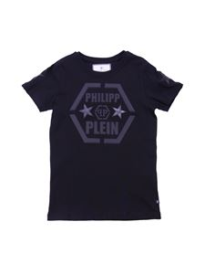 Philippe Plein Junior - Black PP Statement T-shirt with stars