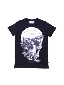 Philippe Plein Junior - Balck t-shirt with skull and logo