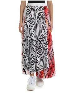 MSGM - Multilayered white and red pleated skirt