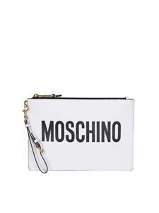 Moschino - White clutch with logo print