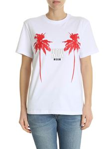 MSGM - White crew-neck T-shirt with red palm print