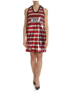 MSGM - Dress in red and silver sequins with logo