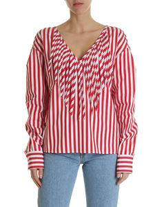 MSGM - Red and white blouse with fringes