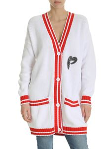 Pinko - Furnari overfit cardigan in white with red inserts