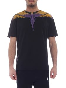 Marcelo Burlon - Wings black t-shirt with yellow and purple print