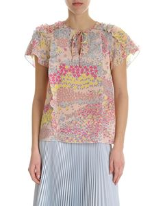 Red Valentino - Pink silk top with floral pattern