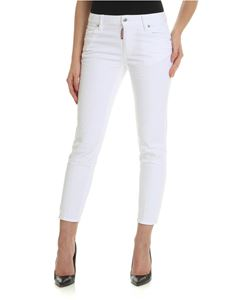 Dsquared2 - White jeans with rear red metal logo